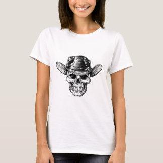 Camiseta Desenho do chapéu de vaqueiro do crânio