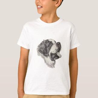 Camiseta Desenho do retrato do perfil do cão de St Bernard