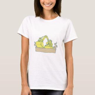 Camiseta Desenho do rolo da fita da máquina escavadora do
