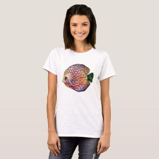 Camiseta Desenho exótico colorido psicadélico dos peixes do