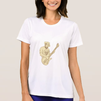 Camiseta Desenho isolado da guitarra baixa do vaqueiro