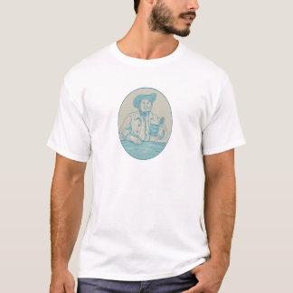 Camiseta Desenho oval da caneca para cerveja do bebedor de