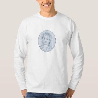 Camiseta Desenho oval do busto do século XVIII da