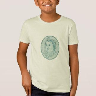 Camiseta Desenho oval do busto europeu do século XVIII da