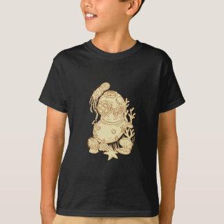 Camiseta Desenho subaquático do capacete do mergulho da