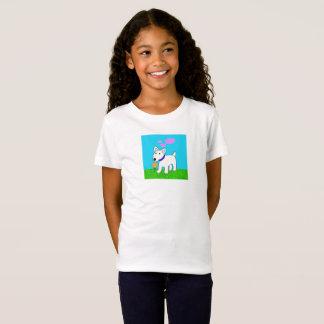 Camiseta Desenhos animados bull terrier com T do florista