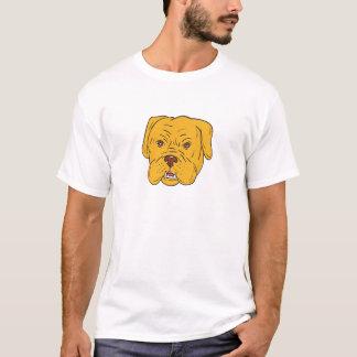 Camiseta Desenhos animados da cabeça de cão do Bordéus