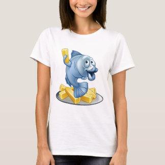 Camiseta Desenhos animados do peixe com batatas fritas