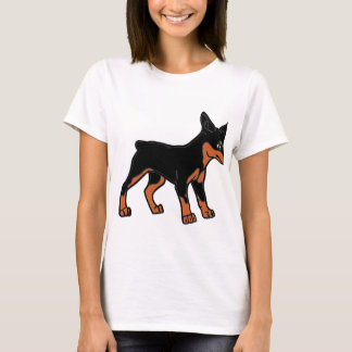 Camiseta desenhos animados do pinscher do doberman