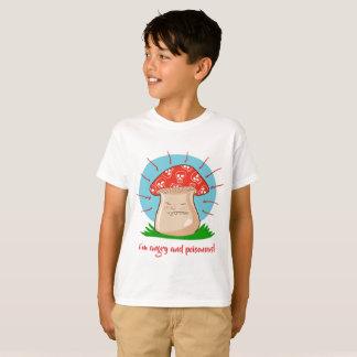 Camiseta desenhos animados engraçados do cogumelo irritado