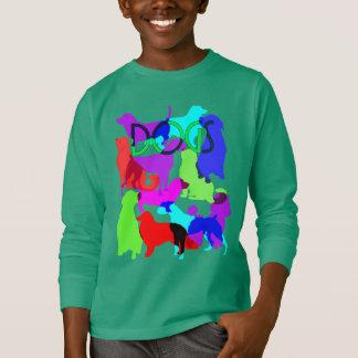 Camiseta Design abstrato colorido dos cães dos amantes do