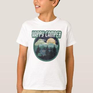 Camiseta design afligido de acampamento redondo do campista