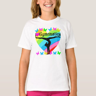CAMISETA DESIGN BONITO DO ARCO-ÍRIS DA GINÁSTICA DO AMOR DE