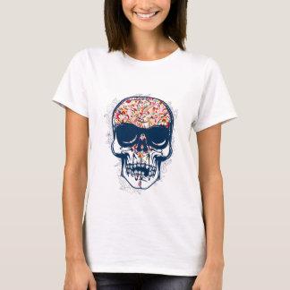 Camiseta design colorido do crânio zombi inoperante