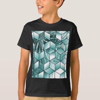 Camiseta Design cúbico tropical das folhas de palmeira do