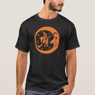 Camiseta Design da bruxa e da lua do Dia das Bruxas do