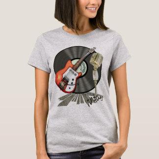 Camiseta Design da guitarra e do microfone do vintage