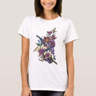 Camiseta Design das armas da pistola da flor