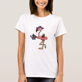 Camiseta Design de jardinagem do flamingo cor-de-rosa