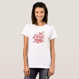 Camiseta Design de rotulação de New York. Maçã grande. NYC.