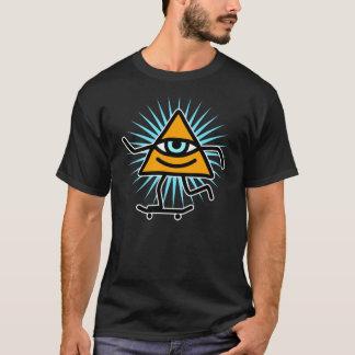 Camiseta Design do deus do skate do olho da pirâmide