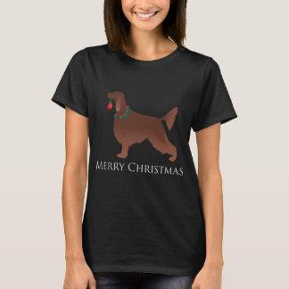Camiseta Design do Feliz Natal do cão do setter irlandês