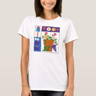 Camiseta Design do jardim do remendo do pavão-do-mar