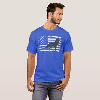 Camiseta Design do lobo solitário e da bandeira americana