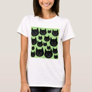 Camiseta Design dos gatos no preto e no verde
