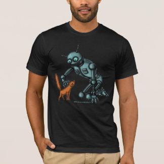 Camiseta Design engraçado do t-shirt do robô e do gato