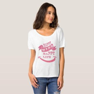 Camiseta Design feliz do rosa da esposa
