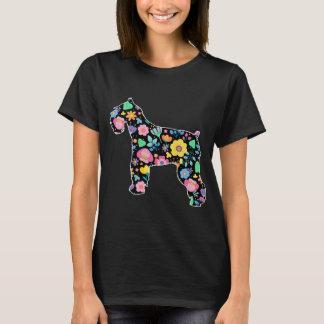 Camiseta Design floral bonito do Schnauzer