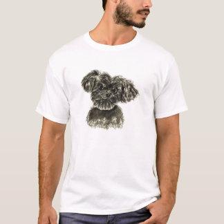 Camiseta Design preto do Watercolour do filhote de cachorro