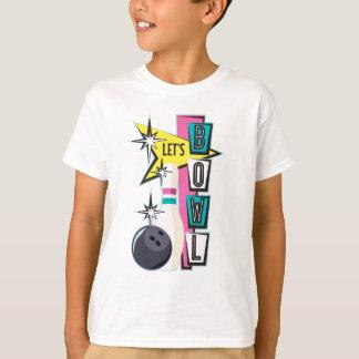 Camiseta Design retro cor-de-rosa da boliche