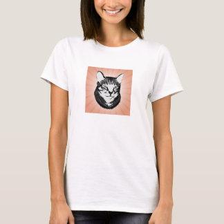 Camiseta Design retro do estêncil do gato