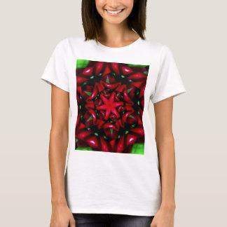Camiseta design verde e vermelho da flor do kaleido