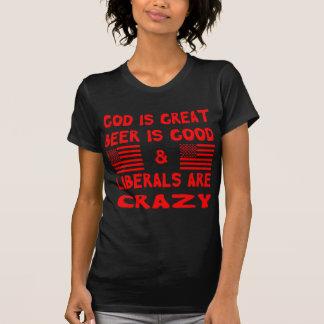 Camiseta Deus, cerveja & liberais loucos