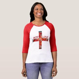 """Camiseta deus do t-shirt impresso vermelho """" +Amor """""""