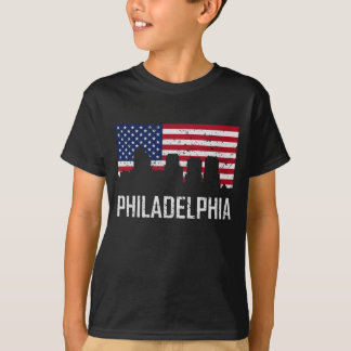 Camiseta Di da bandeira americana da skyline de