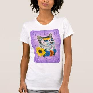Camiseta Dia da arte inoperante do gato do crânio do açúcar