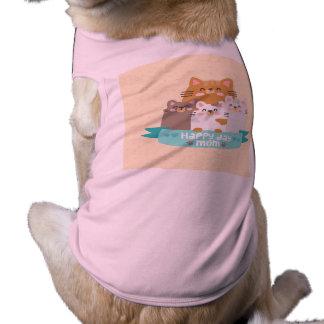Camiseta Dia das mães feliz bonito da família de gato dos