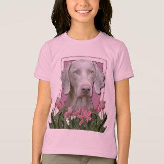 Camiseta Dia das mães - rosa - tulipas - Weimeraner - azul