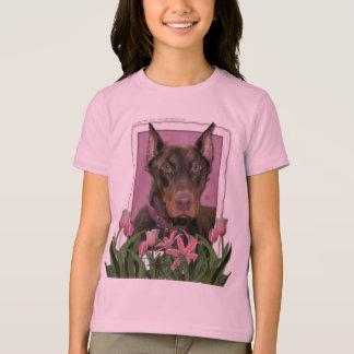 Camiseta Dia das mães - tulipas cor-de-rosa - Doberman -