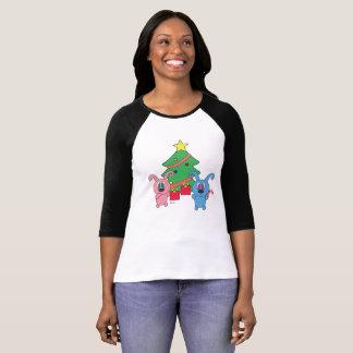 Camiseta Dia de Natal de Rollys - luva do Raglan 3/4 das