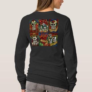 Camiseta Dia dos crânios inoperantes/camisa flamejante do