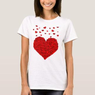 Camiseta Dia dos namorados vermelho bonito do coração