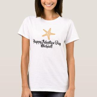 Camiseta Dia feliz da adopção da estrela do mar, T do