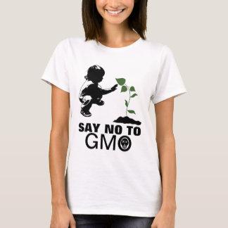 Camiseta Diga não à jovem criança e à plântula de GMO