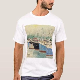 Camiseta Digby, Nova Escócia, barcos de pesca, aguarela