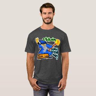 Camiseta Dinheiro mágico do Internet de Bitcoin com fundo